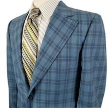 Vintage Phoenix Mens 40R Blue Glen Plaid Sport Coat Suit Jacket Retro Bo... - $55.29