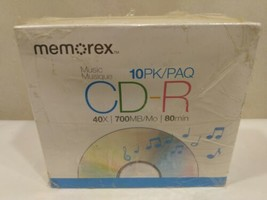 Memorex CD-R Music 10 Pack 40 X 700MB/Mo 80 Minute Recordable Media New ... - $13.10