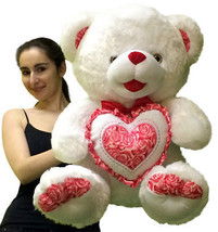 Big  Soft Teddy Bear 30 Inch White Holds Red White Floral Plush Heart Pi... - $97.11