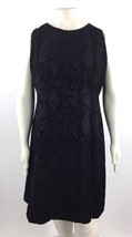 Calvin Klein Sleeveless Flocked Scuba Flare Dress Women's Black Plus Sz ... - $66.52