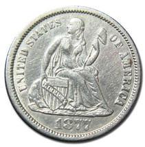 1877CC Silver Seated Liberty Dime 10¢ Lot # MZ 2837