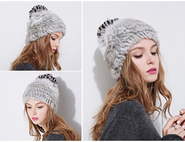 Fashion Winter Women Hat Rabbit Fur Beanie Knit Pom Pom Double-Deck Knit... - ₨2,351.77 INR
