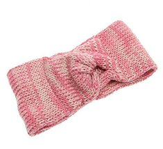 Fashion Knitted Headband Crochet Bow Hair Wrap, PINK