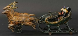 Antique Hubley Santa Claus Two Reindeer Sleigh Cast Iron Toy - $4,213.99