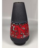 Fat Lava Vase Red Black Mid Century ModernWest German Pottery home decor... - $105.39