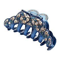 Elegant Womens Rhinestone Epoxy Enamel Hair Claw Hair Clip (Dark-blue)