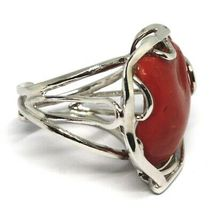 925 SILVER RING, RED CORAL NATURAL HEART, CABOCHON, MADE IN ITALY image 4