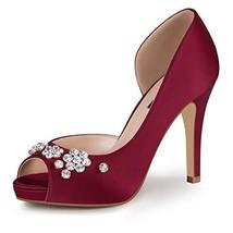 ERIJUNOR E0105C Women's Peep Toe Platform High Heel Rhinestones Satin Ev... - $68.44