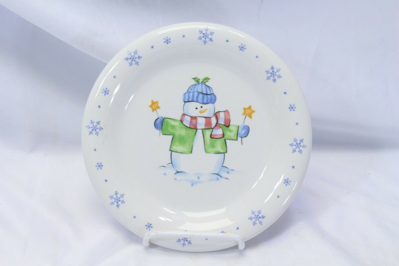 Enchanted Forest Xmas Snowman Snowflake Dinner and Salad Plates Lot of 8 image 3
