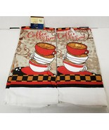 """2 SAME PRINTED KITCHEN TOWELS (15"""" x 25"""") STACK OF COFFEE CUPS, COFFEE T... - $10.88"""