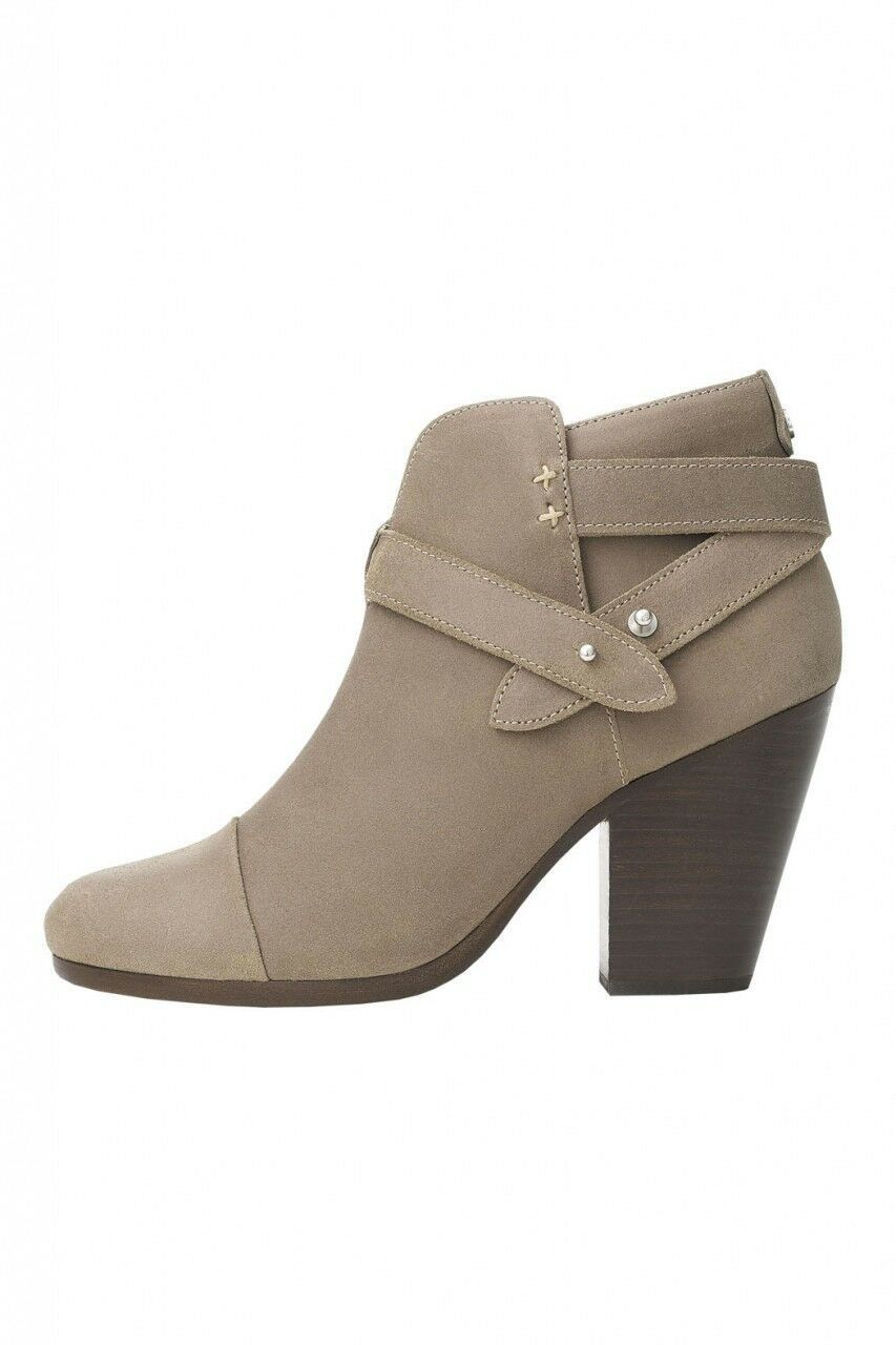 Rag & Bone HARROW Stone Buckle Boots Ankle Booties Taupe Shoes 38.5 - 8