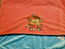 Taggies Baby Blanket Salmon Pink Monkey Heart Aqua Blue Ribbons jSensory - $34.53