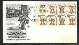 USA 1975 Sc 1595b LIBERTY BELL BOOKLET PANE with LABEL ArtCraft FDC - $4.99