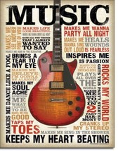 MUSIC Inspires Me Guitar Country Rock Metal Sign Tin New Vintage Style U... - $10.29