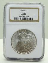 1886 $1 Morgan Silver Dollar NGC Certified MS 63 - $75.00