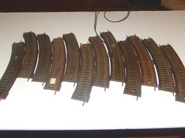 AMERICAN FLYER  - POST-WAR - 12 SECTIONS OF HO CURVED TRACK- FAIR- W6 - $9.37