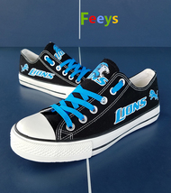 lions shoes women converse style lions sneakers detroit fans birthday gift black - $56.00