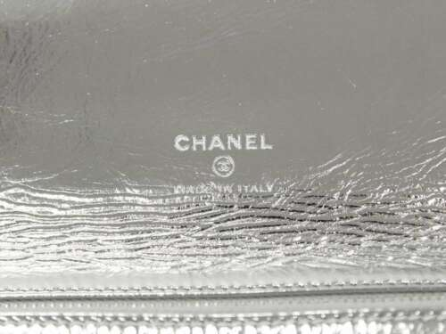CHANEL Pouch 31 Goat Leather Silver A70521 Clutch Bag Metalic Authentic 5402281