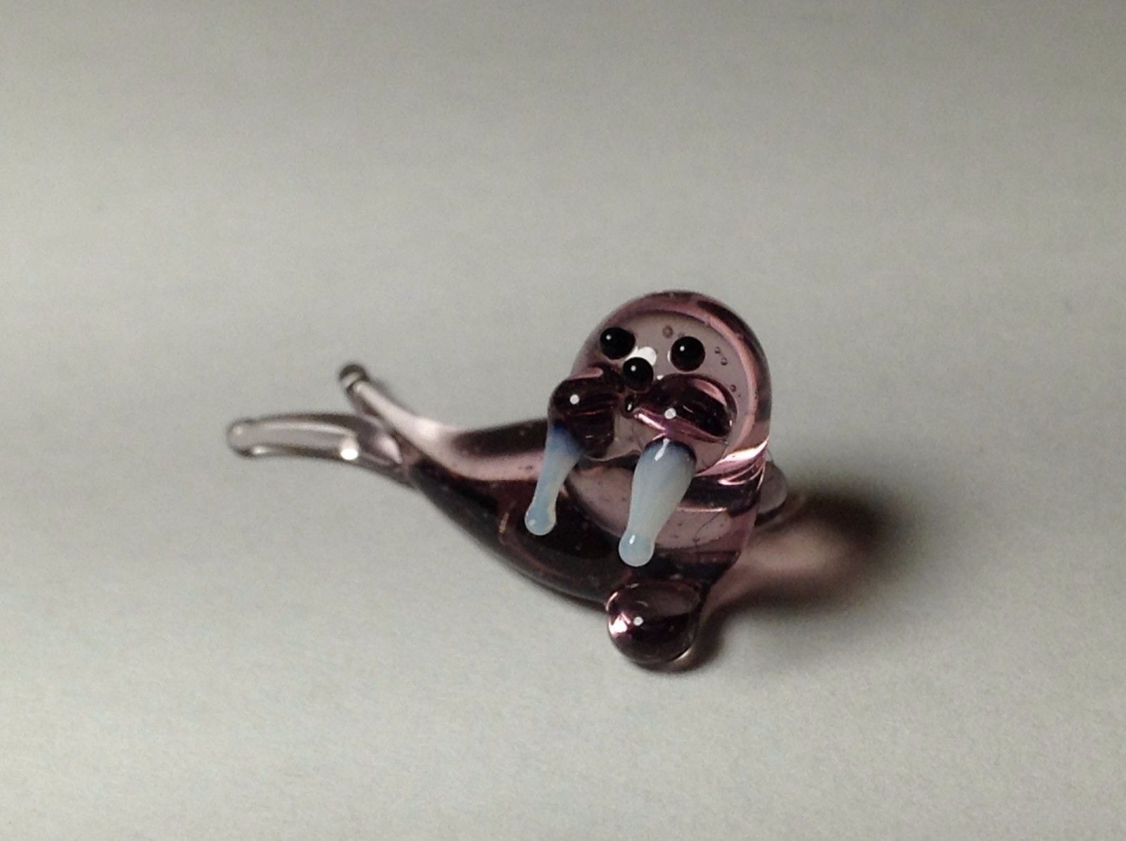 Miniature Glass Reclining Walrus    Handmade Blown Glass Made USA