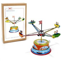 TIN TOY ROCKET RIDE Lever Action Carousel NEW Collectible Metal Litho Re... - $19.88