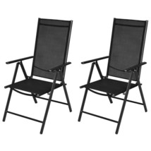vidaXL 2x Garden Chairs Aluminum Folding Textilene Black Outdoor Recline... - $85.99