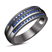 Pure 925 Silver Black Gold Plated Men's Fashion Band Ring Blue Sapphire Jewelry - £57.98 GBP