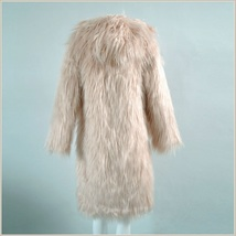Pink Hooded Fluffy long Hair Angora Goat Faux Fur Long Trench Coat Jacket image 3