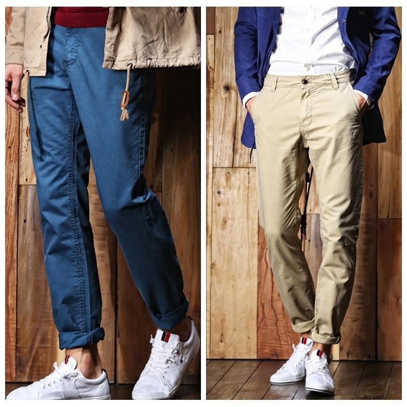 Fashion New Men's Casual Pants Slim Solid Color Push Size 8 Colors