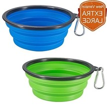 Extra Large Dog Bowls 2 Portable Cat Feeder Silicone Expandable Pet Cup ... - $16.15