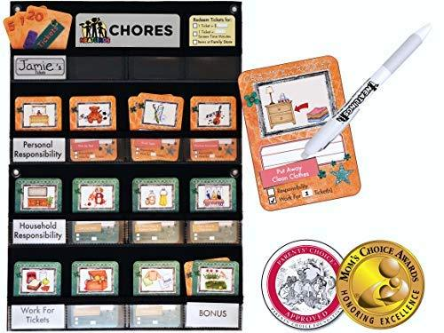 NEATLINGS Chore Chart System | 1 Child | 80+ Chore | Teal & Orange Cards