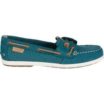 Women's Sperry Top-Sider Coil Ivy Dark Teal Scale Perf Leather Slip On Boat Shoe image 2