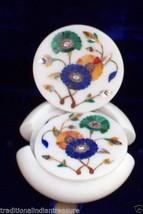 Marble Tea Coffee Coaster Set Multi Inlay Stone Marble Mosaic Work Decor Gifts - $182.23