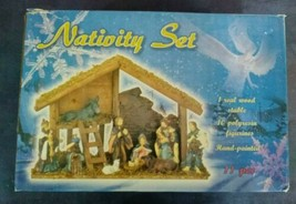 Hand Painted Christmas Nativity Set Wooden Stable with 10 Polyresin Figu... - $34.65