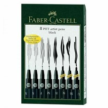 FABER CASTELL - PITT ARTIST FINE LINERS  8 PEN SET BLACK India Ink - $28.00