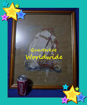VINTAGE PICTURES SHIPS EMBROIDERY TAPESTRY NEEDLEWORK SEWING TAPESTRIES ... - $46.27