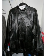 Vintage Chinese silk black costume dress shirt JinHon size XL Dragon Décor - $80.00