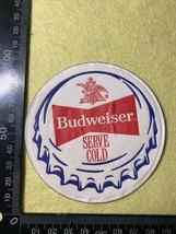 Beer Mat Coaster - Single Sided Paper - Budweiser Serve Cold (FF165) - $6.94