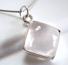 Rose Quartz Necklace 925 Sterling Silver Square Cube New - $22.76