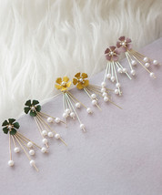Colorful Floral SprayFlower Chandelier Pearl Earring Bridesmaids Jewelry - $15.80