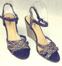 MIA Espadrille High Wedge Strappy Sandals Braided Fabric Metallic Earth ... - $24.14