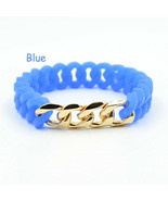 Bracelet Silicone Bracelet In Mulity Colors Women And Man Stretch Link C... - $5.40