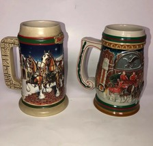 Budweiser Beer Steins 1997 1998 Clydesdale Christmas Holiday Grants Farm Set 2 - $30.68