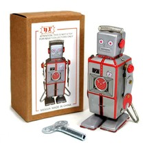 """TIN TOY ROBOT 3.75"""" MS502A Easelback Wind Up Walking Retro Style Litho M... - $14.95"""