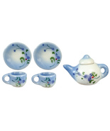 DOLLHOUSE MINIATURES 6PC BLUE TEA SET #G7565 - $12.50