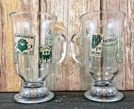 Lot of 2 Anchor Hocking Ireland Irish Killarney Limerick Dublin Coffee Glass Mug - $39.99