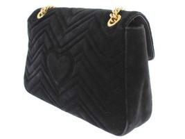 GUCCI GG Marmont Chain Shoulder Bag Velvet Black Loved 443496 Authentic ... - $1,435.57
