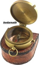 """An item in the Antiques category: Antique Brass Compass with Quote in Beautiful Leather Case,2.5"""" Inch,.kedarnath"""