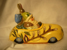 Vaillanc/2ourt Folk Art Spring Break Santa in a Car with  Bunny Signed no.18018 image 1