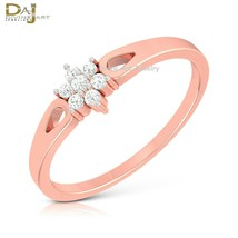 Solid 10k Rose Gold Cluster Ring Diamond Promise Ring For Her Minimalist... - £190.57 GBP