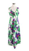 White green floral KAWIKA OF HAWAII sleeveless vintage maxi dress M - $30.00